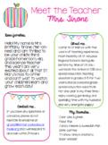 EDITABLE - Meet the Teacher Letter - Welcome Letter Template- Parent Survey
