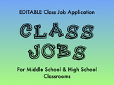 EDITABLE Middle and High School Class Job Application FREEBIE