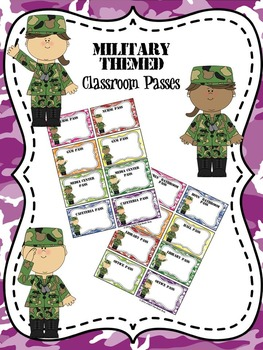 EDITABLE Military Themed Classroom Passes
