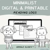 EDITABLE Minimalist Digital Reading Logs & Printable Templates - Google Slides