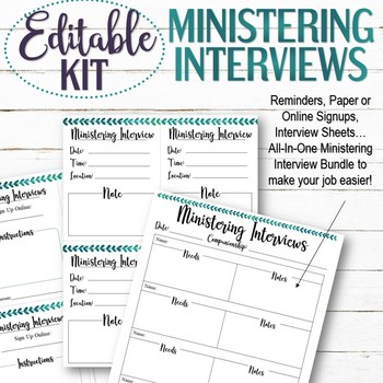 EDITABLE Ministering Interview Kit - INSTANT DOWNLOAD