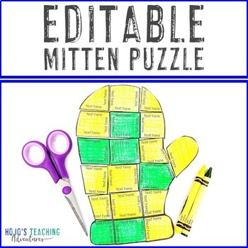 EDITABLE Mitten Winter Center | Make Math, Literacy, or OTHER Puzzles!