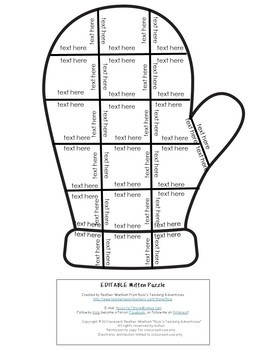 EDITABLE Mitten Template | Make Math, Literacy, or OTHER Puzzles!