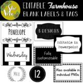 EDITABLE Modern Farmhouse Bin Labels, Locker Tags