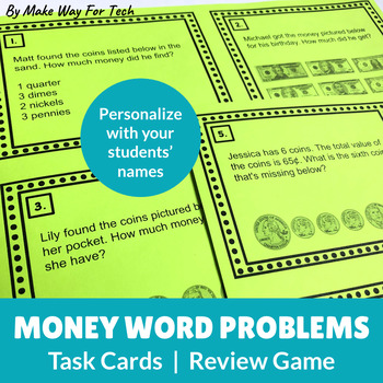 EDITABLE Money Word Problems (Higher-Order Thinking)