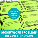 EDITABLE Money Word Problem Task Cards (Higher-Order Thinking)