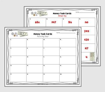 EDITABLE Money Word Problem Task Cards (Higher-Order Thinking)