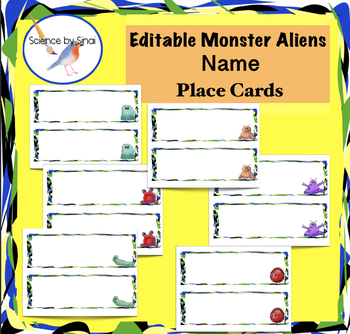EDITABLE Monsters Aliens Theme DESK CARDS NAME PLACE CARDS