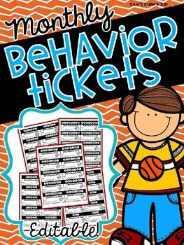 EDITABLE Monthly Behavior Tickets