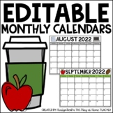 EDITABLE Monthly Calendars 2019-2020