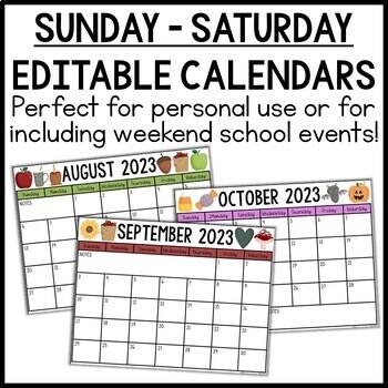 EDITABLE Monthly Calendars 2020-2021
