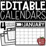 EDITABLE Monthly Calendars {Horizonal Calendars in Black and White}