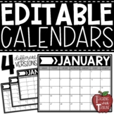 EDITABLE Monthly Calendars {Horizonal Calendars in Black and White}