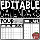 EDITABLE Monthly Calendars {Vertical Calendars in Black and White}