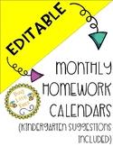 EDITABLE Monthly Homework Calendars