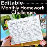EDITABLE Monthly Homework Challenges for Kindergarten