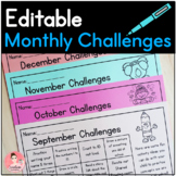 EDITABLE Monthly Homework Challenges for Kindergarten