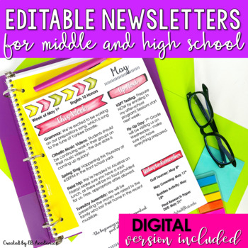 Editable Monthly Newsletter Templates Middle School And High School