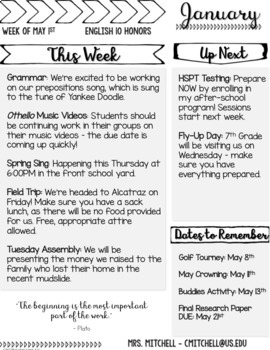Editable monthly newsletter templates middle school and high school maxwellsz