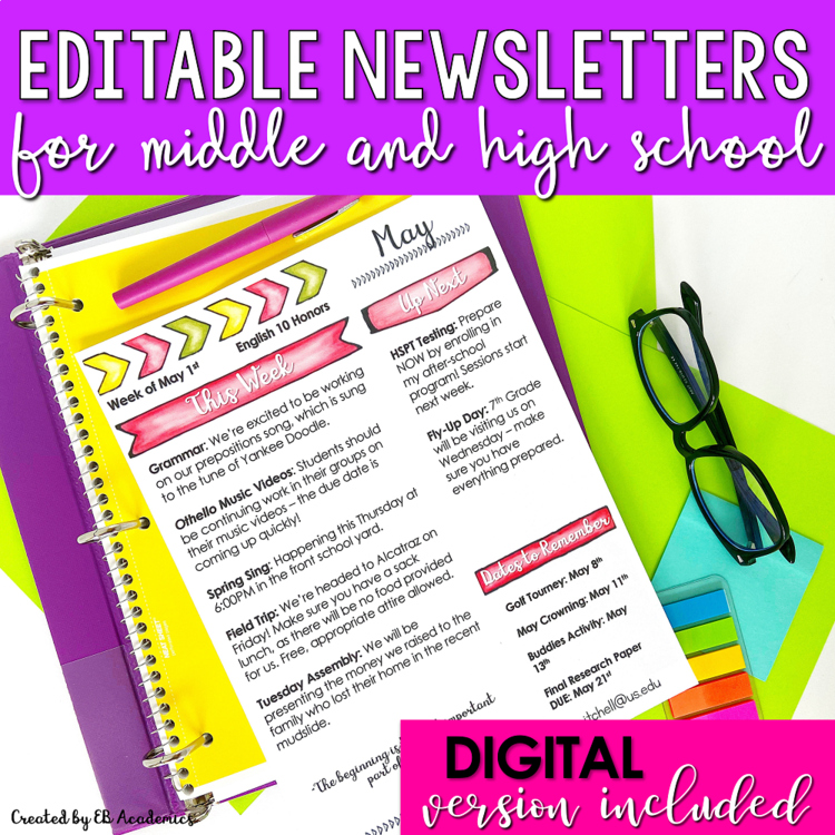 editable monthly newsletter templates  middle school and