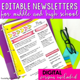 Monthly Newsletter Templates EDITABLE Middle School and Hi