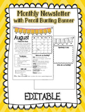 EDITABLE Monthly Newsletter with Pencil Bunting Banner
