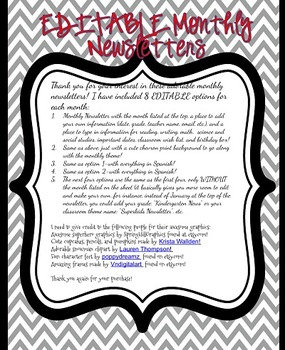 EDITABLE Monthly Newsletters in English AND Spanish **100 Pages