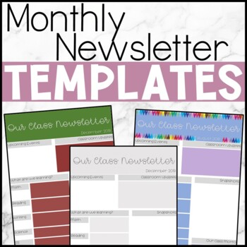 EDITABLE: Monthly Parent Newsletter Template