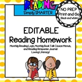 EDITABLE Reading Logs, Reading Menus, and Reading Journal Homework For Google