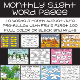 EDITABLE Monthly Sight Words | Fry's First 100 Monthly Sig