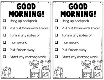 EDITABLE Morning Checklist for Students FREE