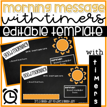 editable morning meeting morning message powerpoint template with timer