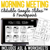 Morning Meeting Interactive Slides, Activities and Worksheets