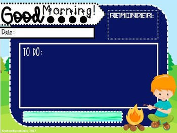 EDITABLE Morning Message {Camping Theme/Woodland} Template w/ Timers
