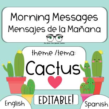 EDITABLE Morning Message / Mensajes de la Manana CACTUS theme PowerPoint