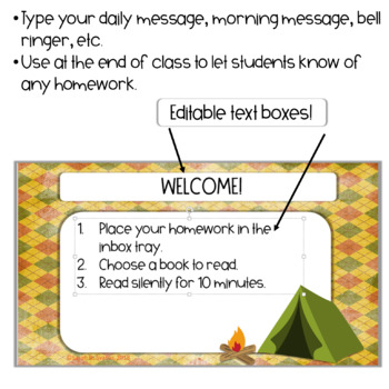 EDITABLE Morning Message / Mensajes de la Manana CAMPING theme PowerPoint
