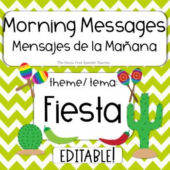 EDITABLE Morning Message / Mensajes de la Manana FIESTA FUN! PowerPoint