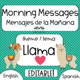 EDITABLE Morning Message / Mensajes de la Manana LLAMA LOV