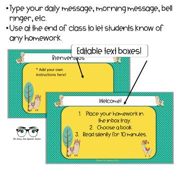 EDITABLE Morning Message / Mensajes de la Manana LLAMA LOVE PowerPoint