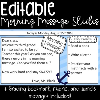 EDITABLE Morning Message Powerpoint