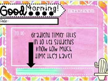 EDITABLE Morning Message {Watercolor Theme} PowerPoint Template with Timer