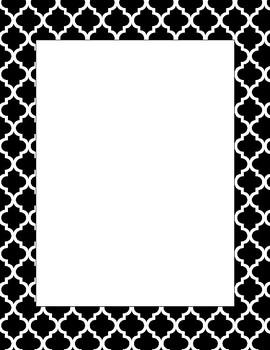 EDITABLE Moroccan Quatrefoil Border / Letterhead - Black & White