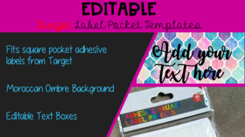 EDITABLE Moroccan Style Target Adhesive Labels