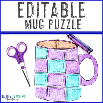 EDITABLE Mug Puzzle - Make your own Polar Express Activities for Math, Literacy+