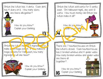 Multiplication Task Cards | Halloween Task Cards | Editable