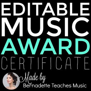 EDITABLE Music Award Certificate!