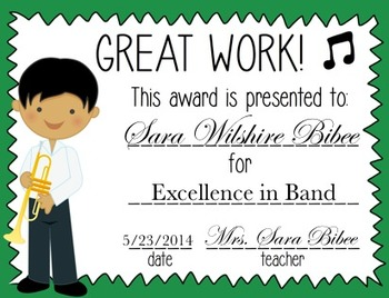 *EDITABLE* Music End of Year Award Certificates- Great Work!