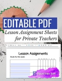 EDITABLE PDF Music Lesson Assignment Sheet
