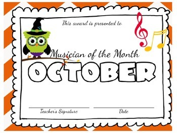 **EDITABLE** Musician of the Month Award Certificates- Adorable Owl Theme
