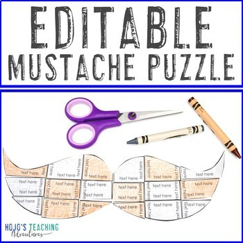 EDITABLE Mustache Activity - Make Your Father's Day Craft on ANY Topic!